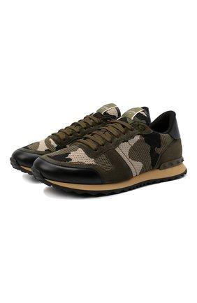 Мужские комбинированные кроссовки rockrunner VALENTINO хаки цвета, арт. VY2S0723/QRK   Фото 1 (Материал внешний: Текстиль; Подошва: Массивная; Материал внутренний: Текстиль; Стили: Гранж)