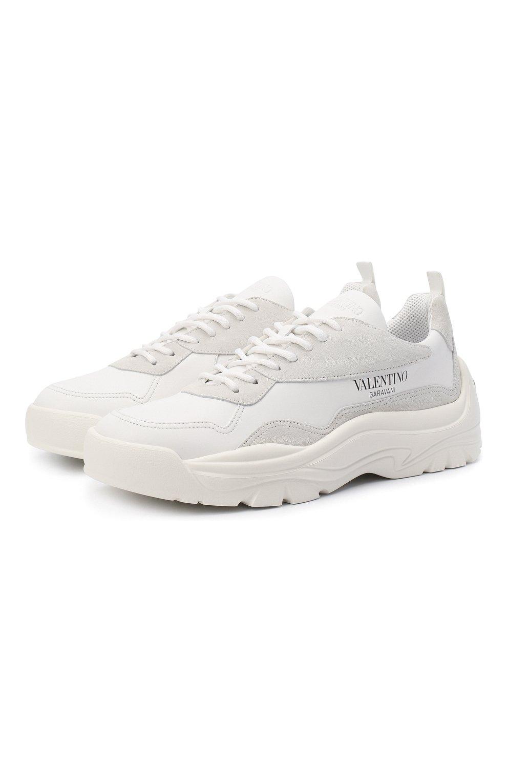 Мужские кожаные кроссовки gumboy VALENTINO белого цвета, арт. VY2S0B17/VRN | Фото 1 (Материал внутренний: Текстиль; Подошва: Массивная)