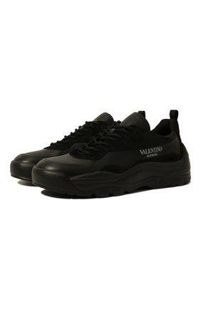 Мужские кожаные кроссовки gumboy valentino garavani VALENTINO черного цвета, арт. VY2S0B17/VRN | Фото 1