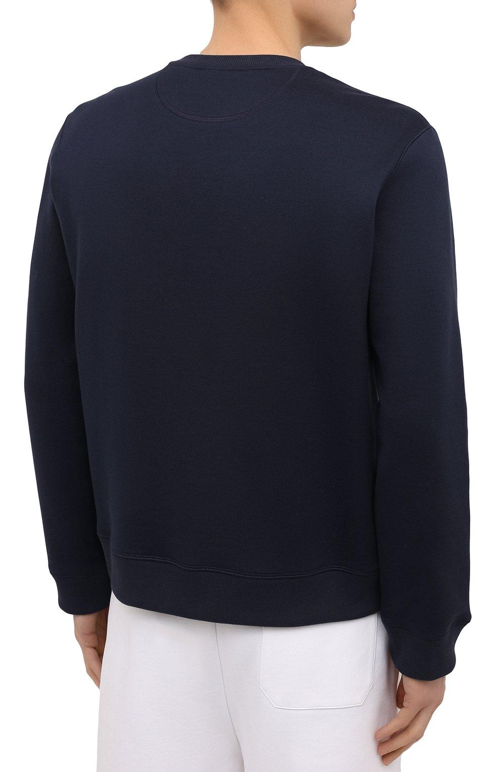 Мужской хлопковый свитшот VALENTINO темно-синего цвета, арт. VV3MF10G745 | Фото 4 (Рукава: Длинные; Длина (для топов): Стандартные; Принт: С принтом; Мужское Кросс-КТ: свитшот-одежда; Материал внешний: Хлопок; Стили: Кэжуэл)