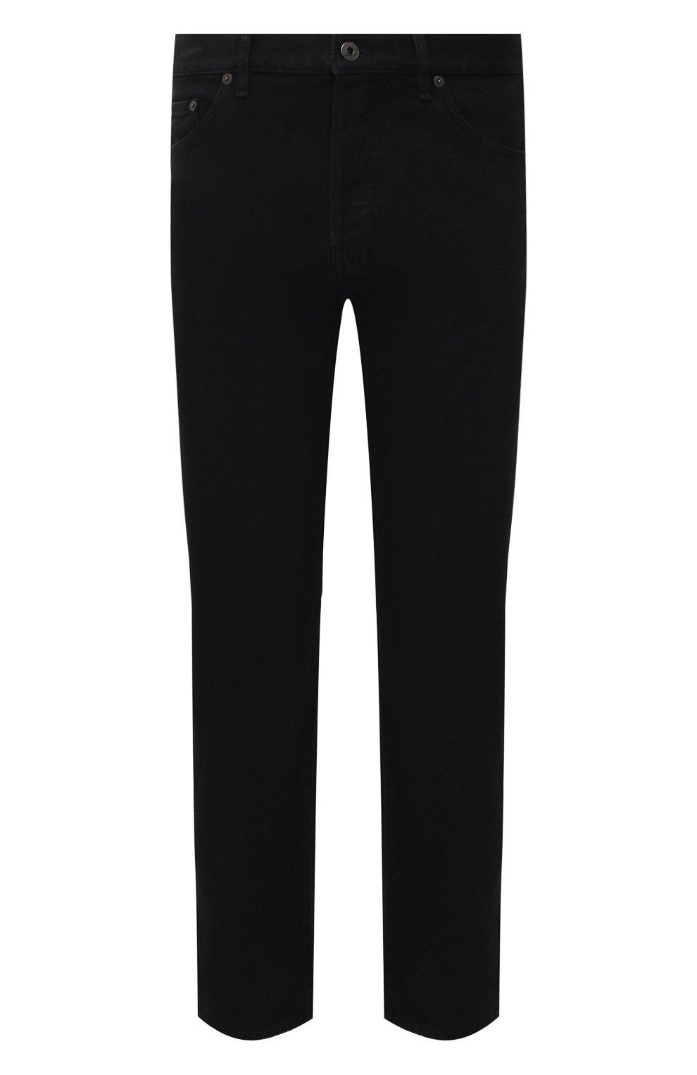 Мужские джинсы VALENTINO черного цвета, арт. VV3DE01J727 | Фото 1 (Силуэт М (брюки): Прямые; Кросс-КТ: Деним; Длина (брюки, джинсы): Стандартные; Материал внешний: Хлопок; Стили: Кэжуэл)