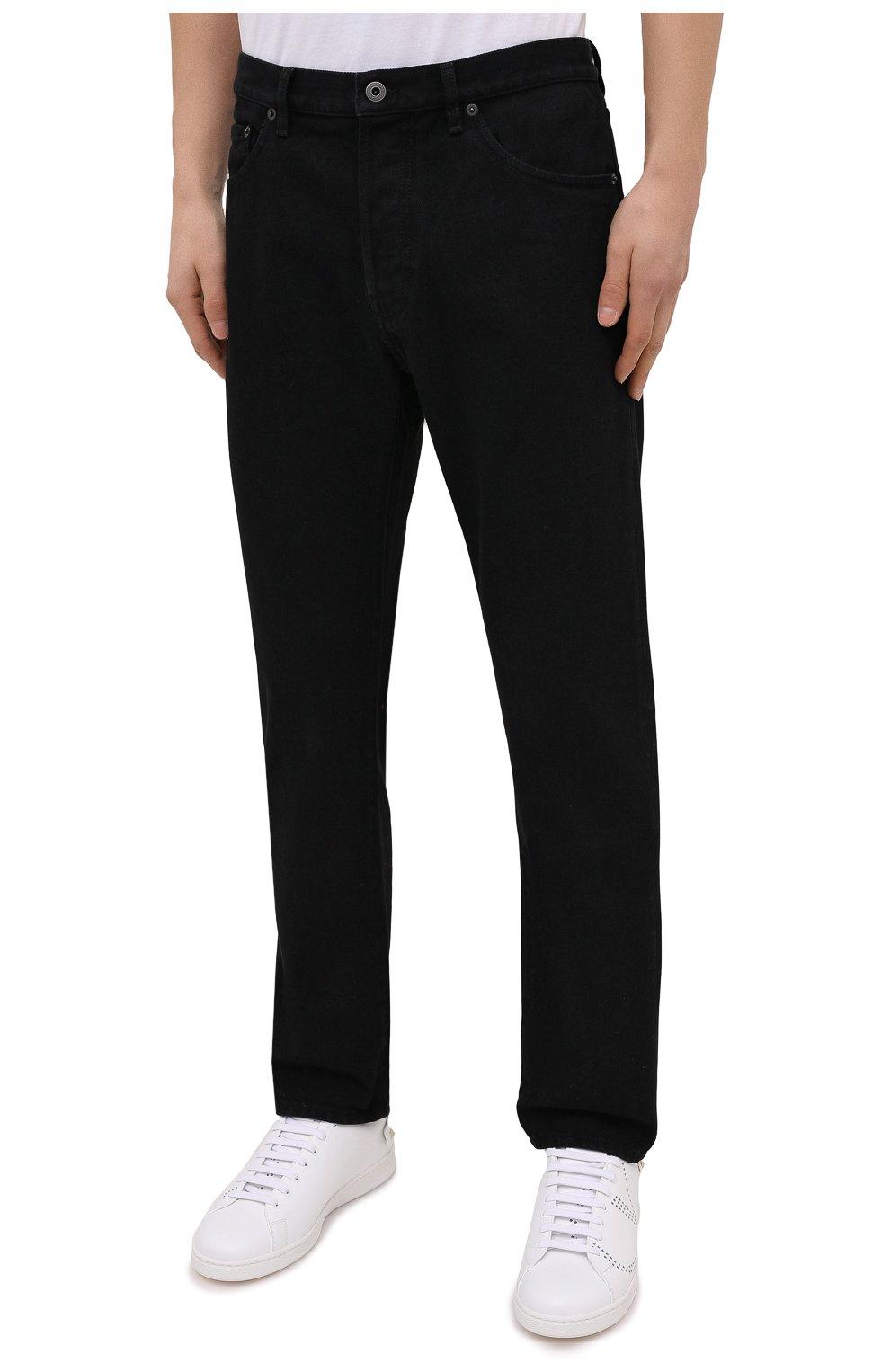 Мужские джинсы VALENTINO черного цвета, арт. VV3DE01J727 | Фото 3 (Силуэт М (брюки): Прямые; Кросс-КТ: Деним; Длина (брюки, джинсы): Стандартные; Материал внешний: Хлопок; Стили: Кэжуэл)