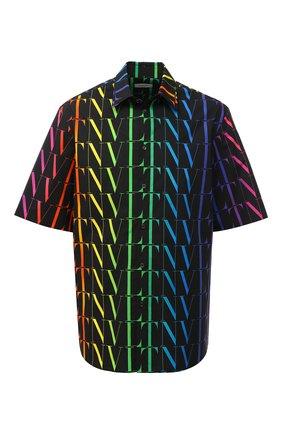 Мужская хлопковая рубашка VALENTINO разноцветного цвета, арт. VV3AAB756G5 | Фото 1 (Материал внешний: Хлопок; Мужское Кросс-КТ: Рубашка-одежда; Случай: Повседневный; Стили: Кэжуэл; Рукава: Короткие; Длина (для топов): Стандартные; Принт: С принтом; Воротник: Кент)