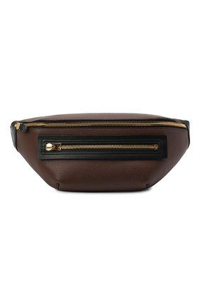 Мужская кожаная поясная сумка TOM FORD коричневого цвета, арт. H0396T-LCL037 | Фото 1
