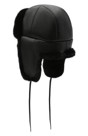 Шапка-ушанка с отделкой из меха норки | Фото №2