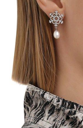 Женские серьги snowflake DZHANELLI серебряного цвета, арт. 0249 | Фото 2