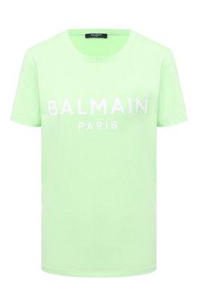 Женская хлопковая футболка BALMAIN светло-зеленого цвета, арт. VF11350/B019 | Фото 1
