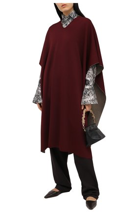 Женская пончо из вискозы VALENTINO бордового цвета, арт. VB3KS00P66Y | Фото 2 (Длина (верхняя одежда): До колена; Стили: Кэжуэл; Материал внешний: Вискоза)