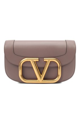 Женская сумка supervee VALENTINO темно-бежевого цвета, арт. VW2B0G09/ZXL   Фото 1 (Ремень/цепочка: На ремешке; Сумки-технические: Сумки через плечо; Материал: Натуральная кожа)