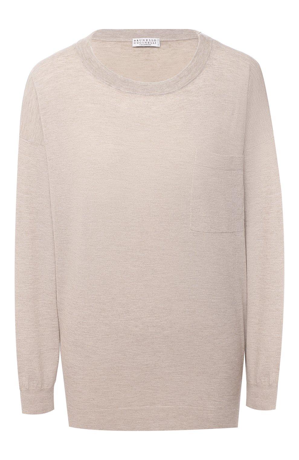 Женский пуловер BRUNELLO CUCINELLI бежевого цвета, арт. M9A820800 | Фото 1