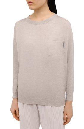 Женский пуловер BRUNELLO CUCINELLI бежевого цвета, арт. M9A820800 | Фото 3