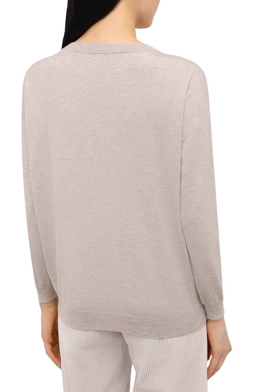 Женский пуловер BRUNELLO CUCINELLI бежевого цвета, арт. M9A820800 | Фото 4