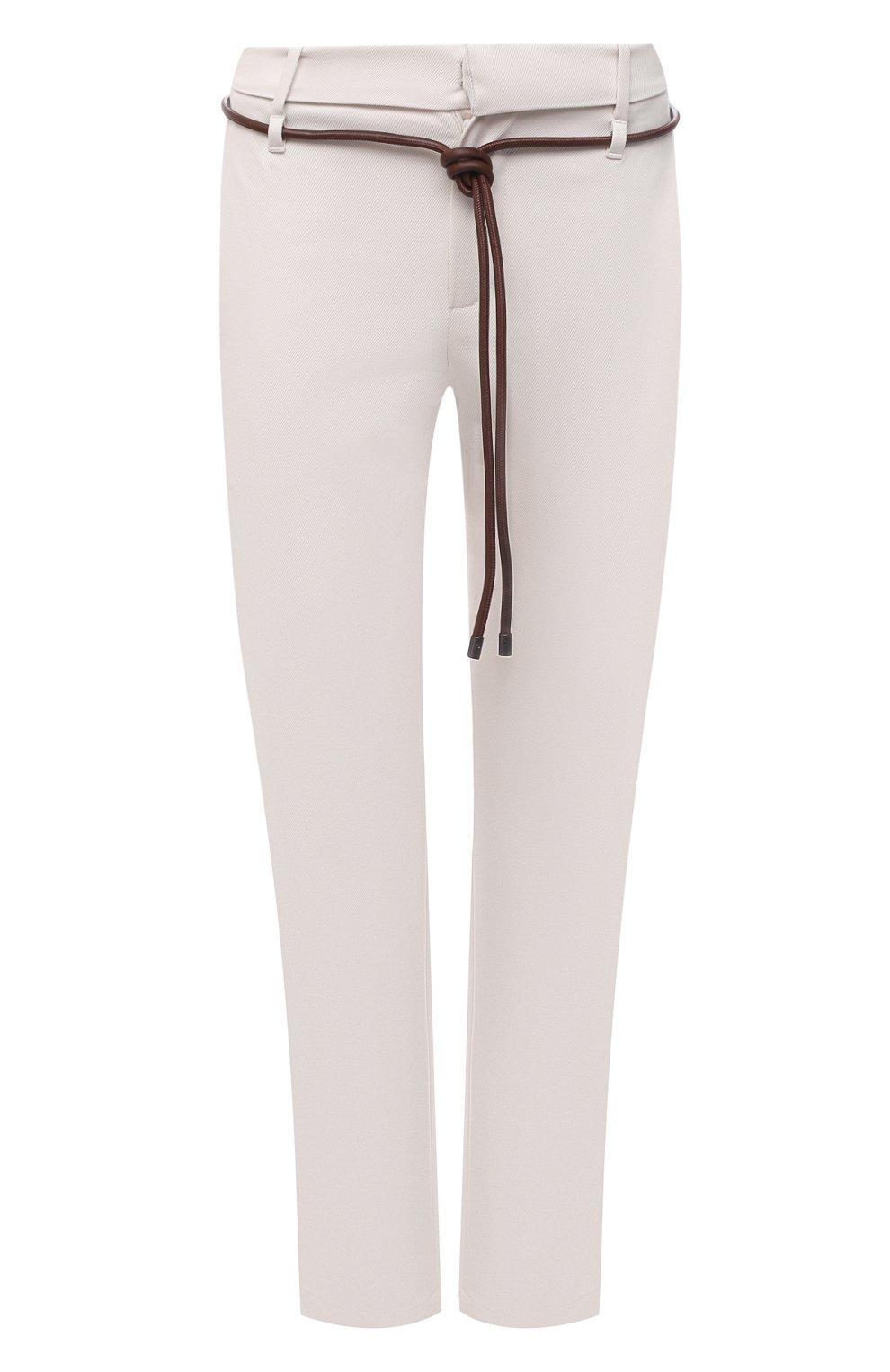 Женские хлопковые брюки BRUNELLO CUCINELLI светло-бежевого цвета, арт. MA126P7214   Фото 1