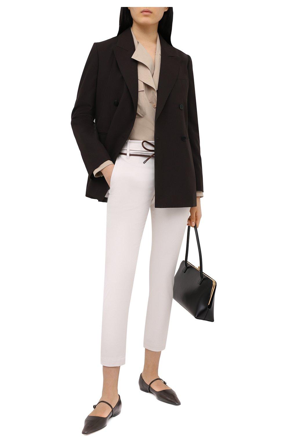 Женские хлопковые брюки BRUNELLO CUCINELLI светло-бежевого цвета, арт. MA126P7214   Фото 2