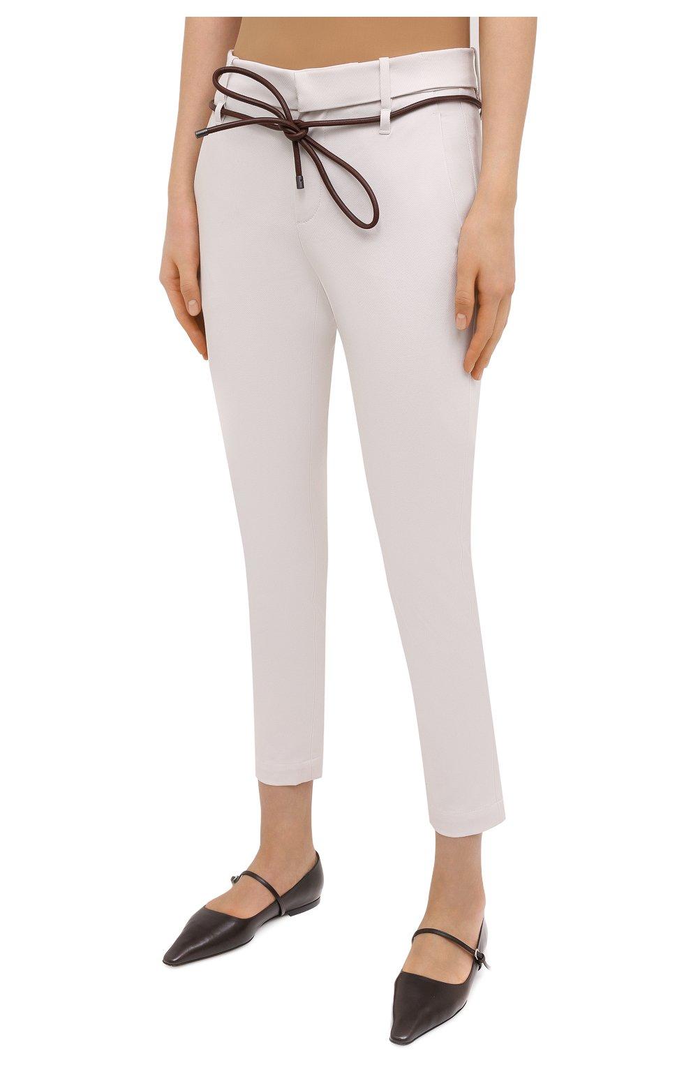 Женские хлопковые брюки BRUNELLO CUCINELLI светло-бежевого цвета, арт. MA126P7214   Фото 3