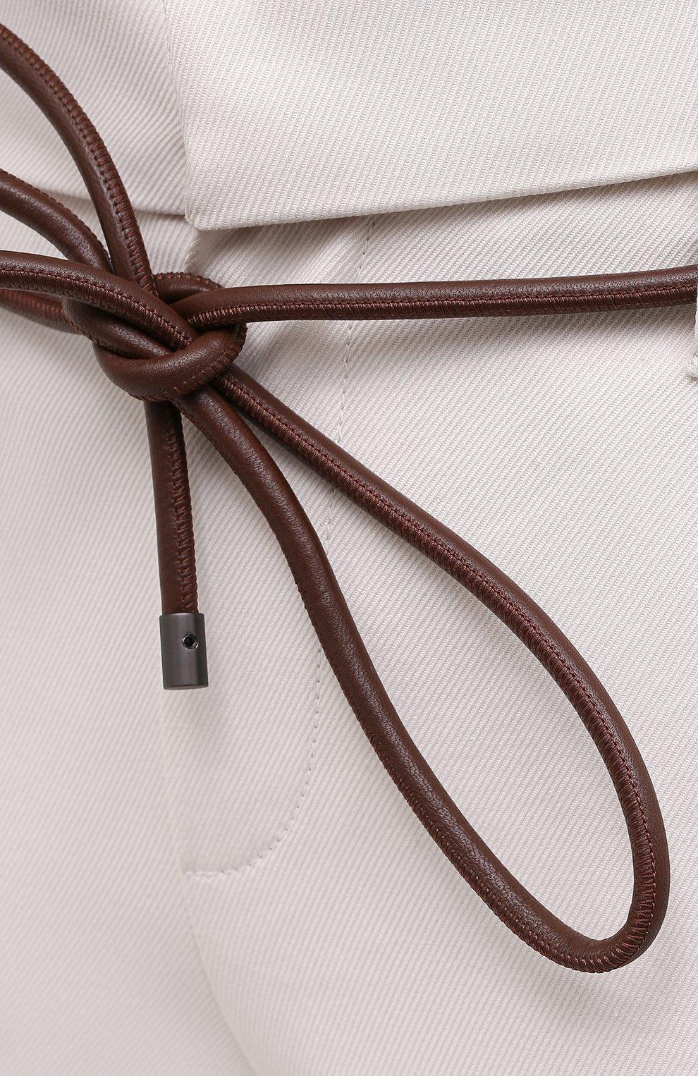Женские хлопковые брюки BRUNELLO CUCINELLI светло-бежевого цвета, арт. MA126P7214   Фото 5