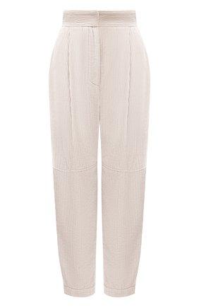 Женские хлопковые брюки BRUNELLO CUCINELLI кремвого цвета, арт. MA180P7349 | Фото 1