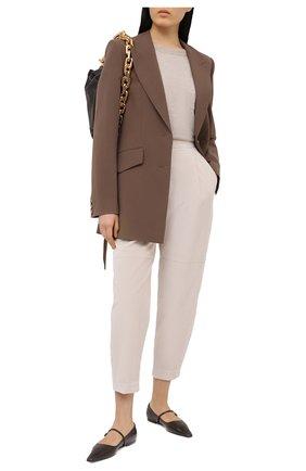 Женские хлопковые брюки BRUNELLO CUCINELLI кремвого цвета, арт. MA180P7349 | Фото 2