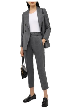 Женские шерстяные брюки BRUNELLO CUCINELLI темно-серого цвета, арт. MB591P7539 | Фото 2