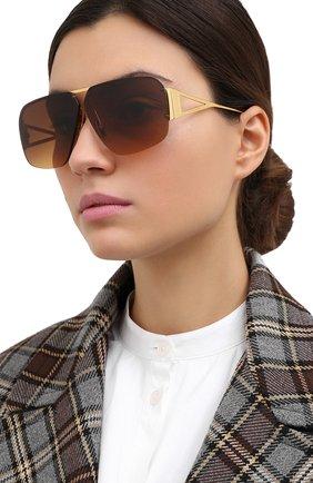 Женские солнцезащитные очки BOTTEGA VENETA коричневого цвета, арт. BV1065S 002   Фото 2