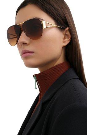 Женские солнцезащитные очки BOTTEGA VENETA коричневого цвета, арт. BV1066S 002   Фото 2