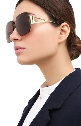 Женские солнцезащитные очки BOTTEGA VENETA темно-коричневого цвета, арт. BV1085SA 002   Фото 2