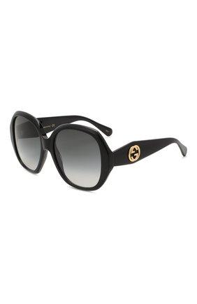 Женские солнцезащитные очки GUCCI черного цвета, арт. GG0796S 001 | Фото 1