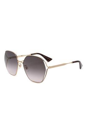 Женские солнцезащитные очки GUCCI серого цвета, арт. GG0818SA 001 | Фото 1