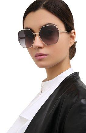 Женские солнцезащитные очки GUCCI серого цвета, арт. GG0818SA 001 | Фото 2