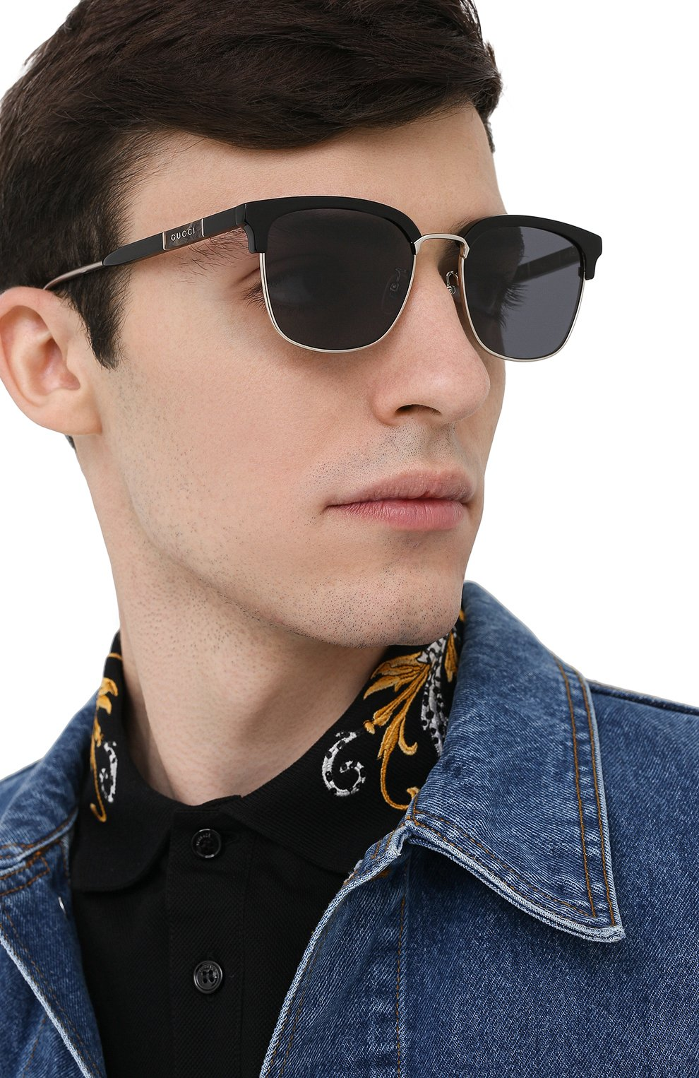 Мужские солнцезащитные очки GUCCI черного цвета, арт. GG0846SK 001 | Фото 2