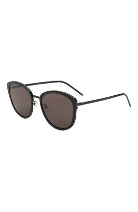 Женские солнцезащитные очки SAINT LAURENT черного цвета, арт. SL 377/K SLIM 002 | Фото 1