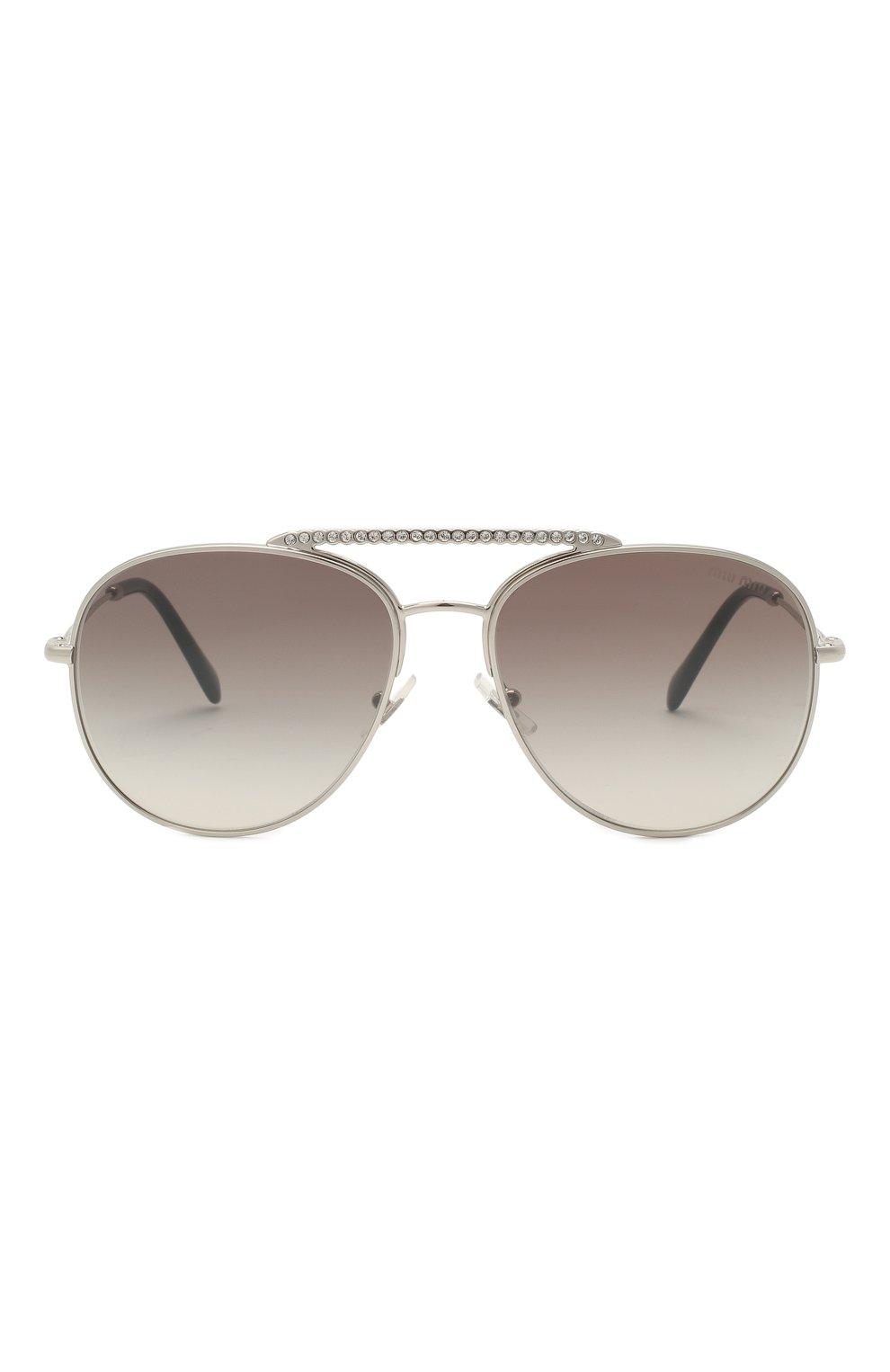 Женские солнцезащитные очки MIU MIU серебряного цвета, арт. 53VS-1BC500 | Фото 3