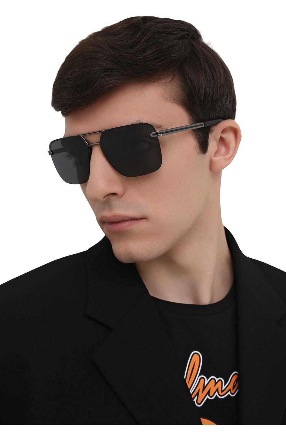 Мужские солнцезащитные очки BVLGARI черного цвета, арт. 5054-195/87   Фото 2