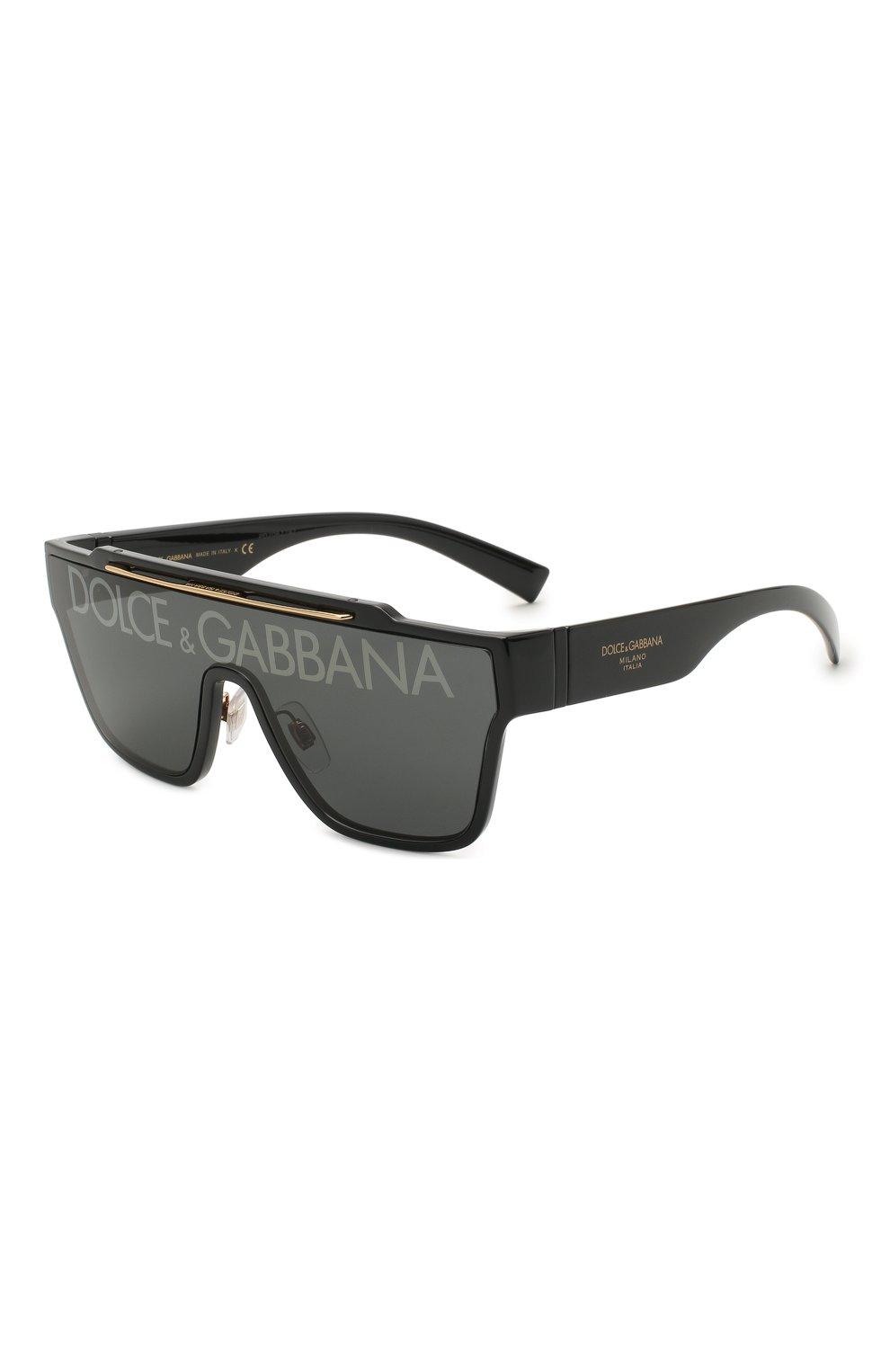 Мужские солнцезащитные очки DOLCE & GABBANA черного цвета, арт. 6125-501/M   Фото 1 (Очки форма: Маска, D-форма; Тип очков: С/з; Оптика Гендер: оптика-мужское)