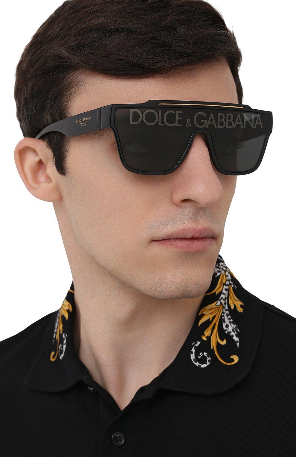 Мужские солнцезащитные очки DOLCE & GABBANA черного цвета, арт. 6125-501/M   Фото 2 (Очки форма: Маска, D-форма; Тип очков: С/з; Оптика Гендер: оптика-мужское)