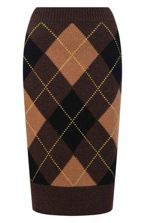Женская юбка из шерсти и кашемира BURBERRY коричневого цвета, арт. 8037242 | Фото 1