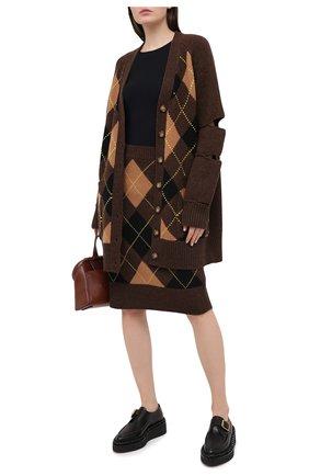 Женская юбка из шерсти и кашемира BURBERRY коричневого цвета, арт. 8037242 | Фото 2