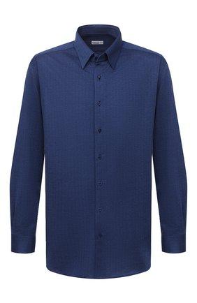 Мужская хлопковая рубашка ZILLI синего цвета, арт. MFU-64034-0001/0008/45-49   Фото 1