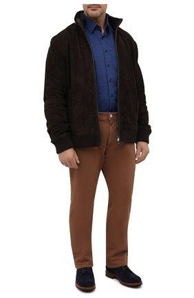 Мужская хлопковая рубашка ZILLI синего цвета, арт. MFU-64034-0001/0008/45-49   Фото 2
