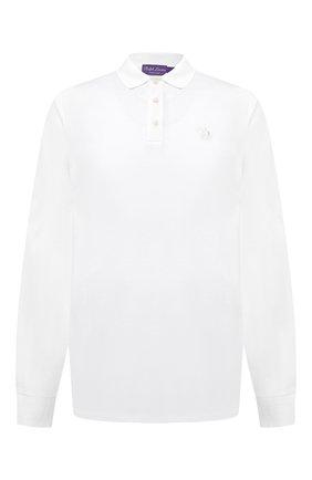 Мужское хлопковое поло RALPH LAUREN белого цвета, арт. 790594891 | Фото 1