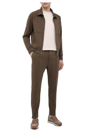 Мужские брюки TOM FORD зеленого цвета, арт. BW250/TFJ974   Фото 2 (Случай: Повседневный; Стили: Кэжуэл; Длина (брюки, джинсы): Стандартные; Материал внешний: Хлопок)