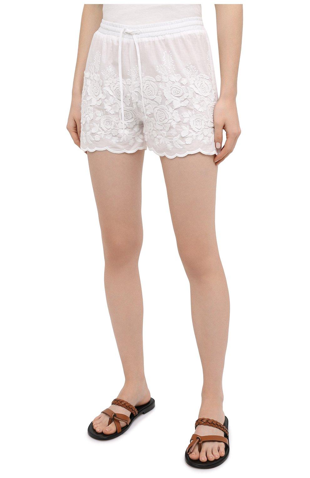 Женские хлопковые шорты EVA B.BITZER светло-бежевого цвета, арт. 10312245 | Фото 3 (Женское Кросс-КТ: Шорты-одежда, Шорты-пляжная одежда; Длина Ж (юбки, платья, шорты): Мини; Материал внешний: Хлопок; Стили: Бохо)
