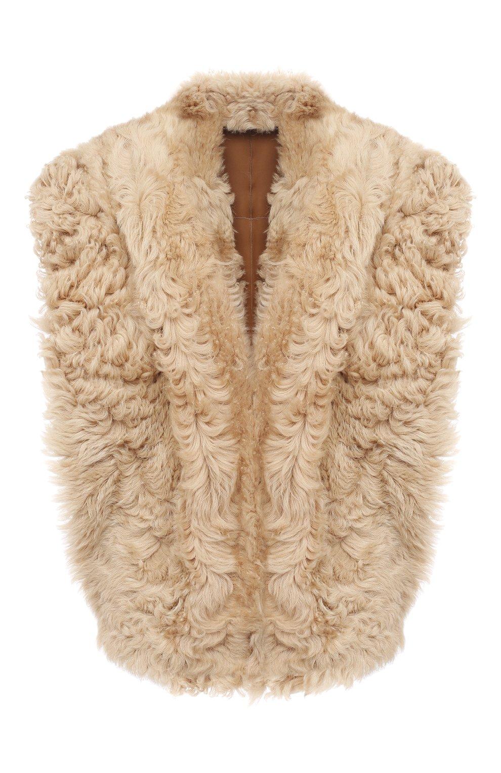 Женский меховой жилет ISABEL MARANT бежевого цвета, арт. MA0895-20H008I/ALLIE | Фото 1 (Женское Кросс-КТ: Мех, Жилет-одежда; Материал внешний: Натуральный мех; Длина (верхняя одежда): Короткие; Стили: Кэжуэл)