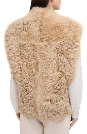 Женский меховой жилет ISABEL MARANT бежевого цвета, арт. MA0895-20H008I/ALLIE | Фото 4 (Женское Кросс-КТ: Мех, Жилет-одежда; Материал внешний: Натуральный мех; Длина (верхняя одежда): Короткие; Стили: Кэжуэл)