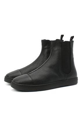 Женские кожаные ботинки GIORGIO ARMANI черного цвета, арт. X1Z009/XM925 | Фото 1 (Женское Кросс-КТ: Челси-ботинки; Подошва: Платформа; Материал утеплителя: Натуральный мех)