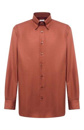 Мужская сорочка из кашемира и шелка ZILLI красного цвета, арт. MFU-00503-87060/0001/45-49   Фото 1 (Big sizes: Big Sizes; Стили: Классический; Случай: Формальный; Материал внешний: Шерсть, Шелк; Рубашки М: Classic Fit; Длина (для топов): Стандартные; Рукава: Длинные; Воротник: Кент)