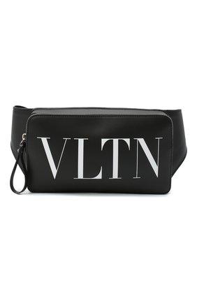 Мужская кожаная поясная сумка vltn VALENTINO черного цвета, арт. VY2B0719/WJW   Фото 1