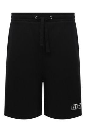 Мужские хлопковые шорты VALENTINO черного цвета, арт. VV3MD02P6LB   Фото 1