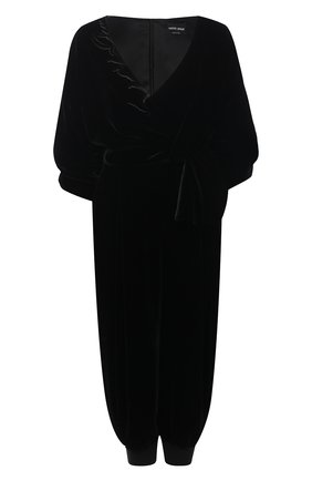 Женский бархатный комбинезон GIORGIO ARMANI черного цвета, арт. 0WHVD011/T01FD | Фото 1