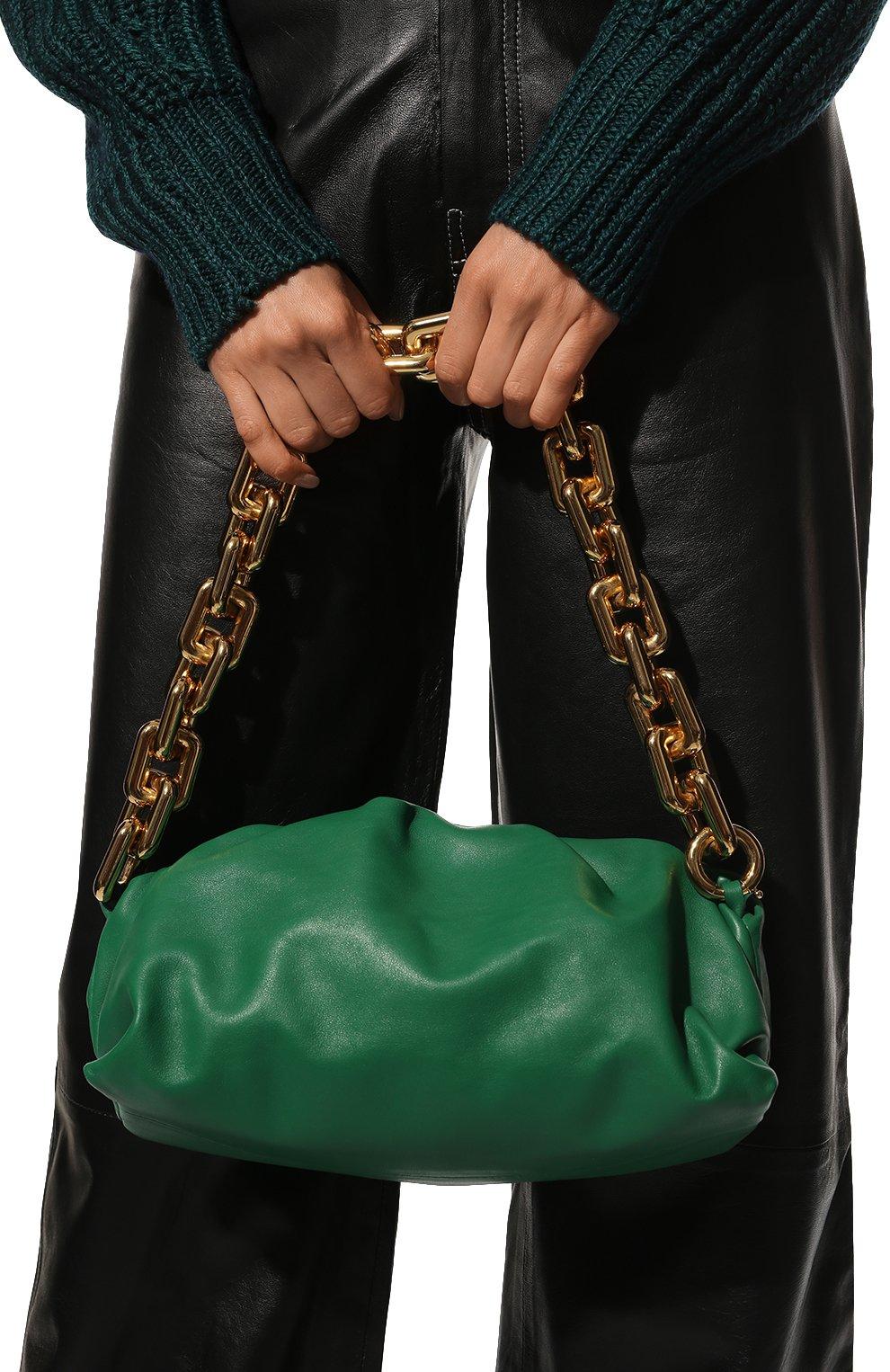 Женская сумка chain pouch BOTTEGA VENETA зеленого цвета, арт. 620230/VCP40   Фото 2